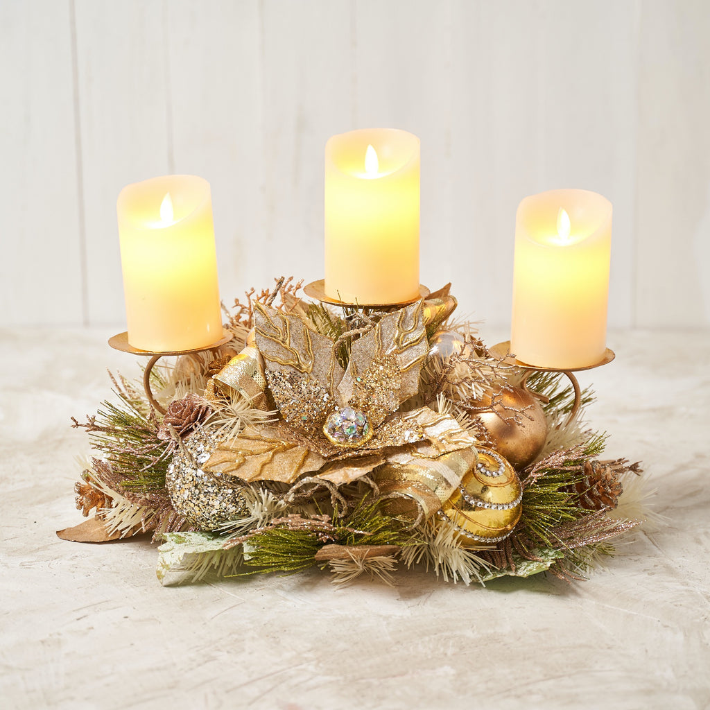Champagne Gold Poinsettia Triple Candle Holder