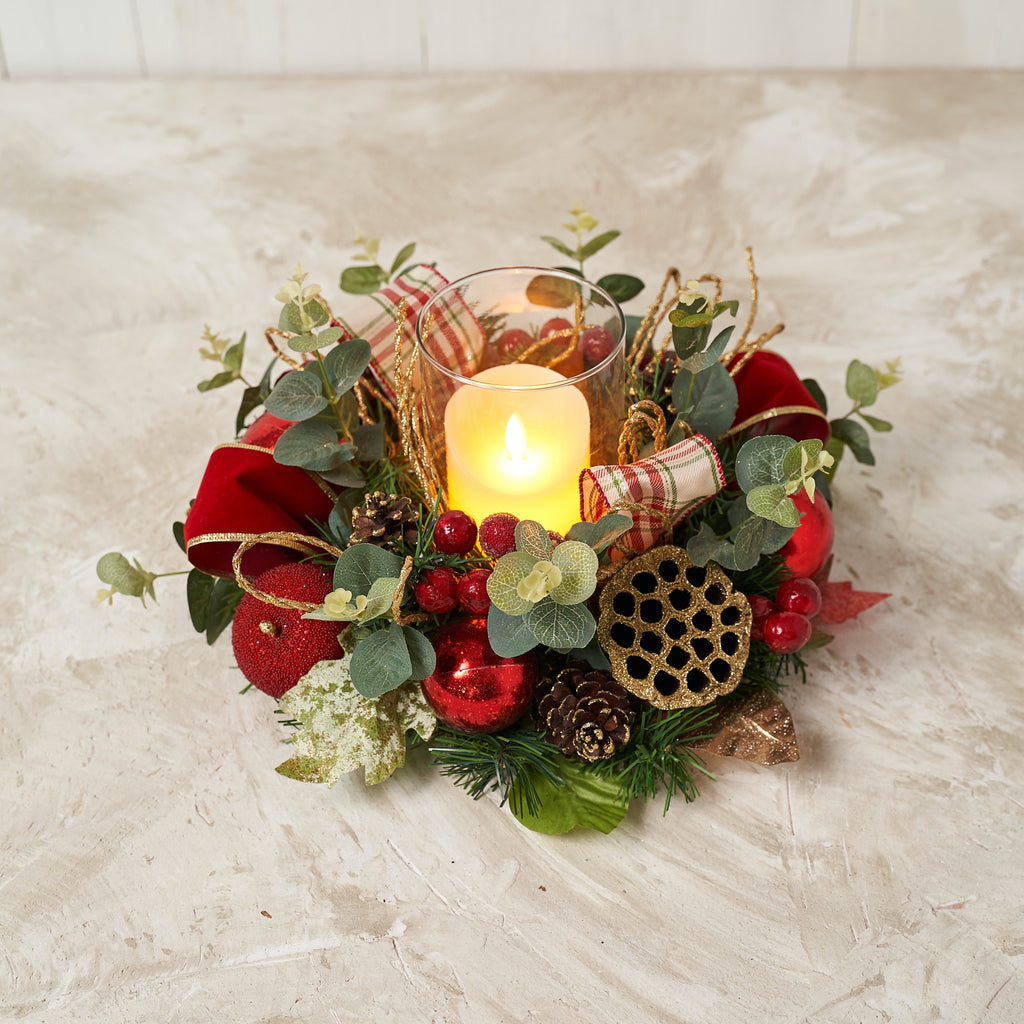 Red Plaid Lotus Pod Hurricane Candle Holder