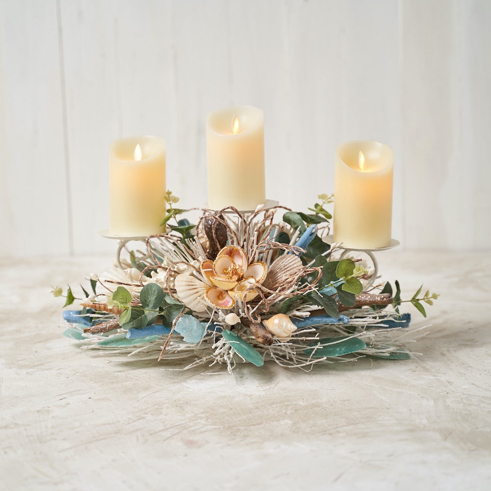Coastal Shell Triple Candle Holder