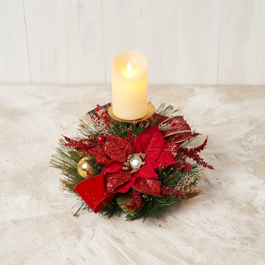 Red Poinsettia Single Spike Candle Holder