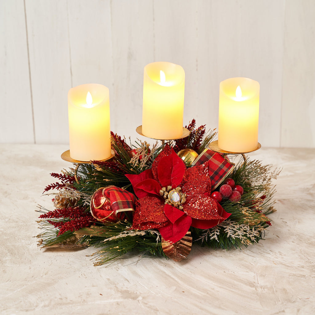 Red Poinsettia Triple Candle Holder