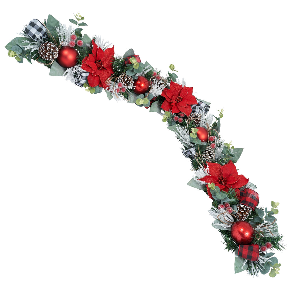 Red Poinsettia Thin Garland with Red and White Buffalo Check Ribbon