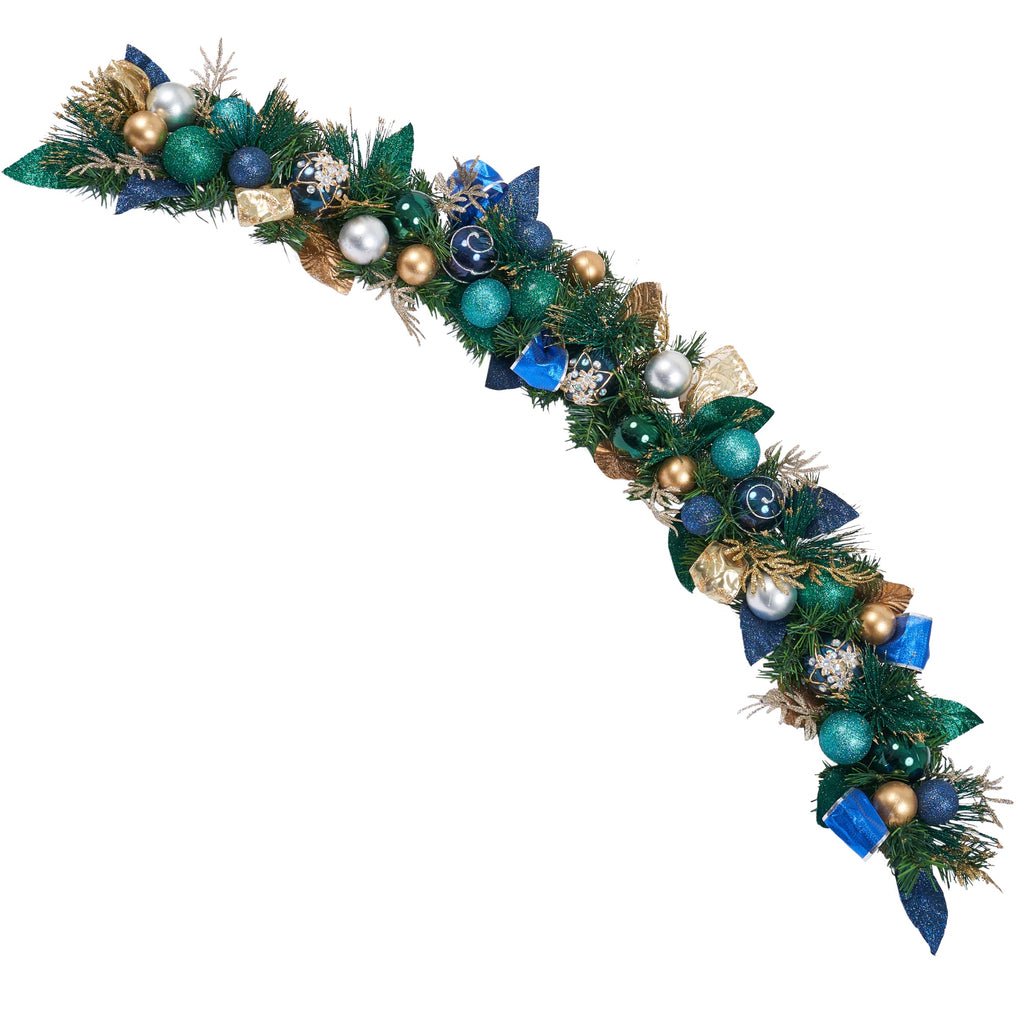 Blue, Gold and  Silver Ornament Garland