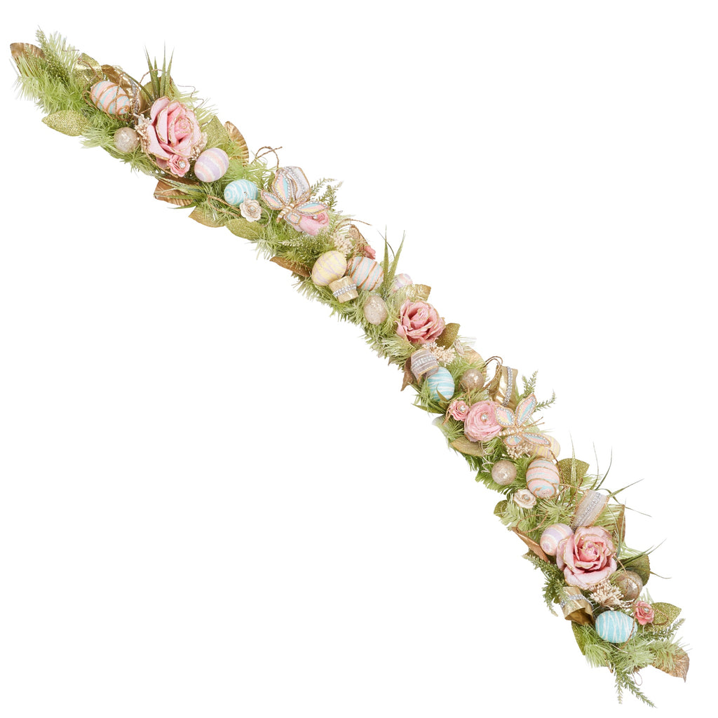 Pastel Floral Garland with Egg & Butterfly