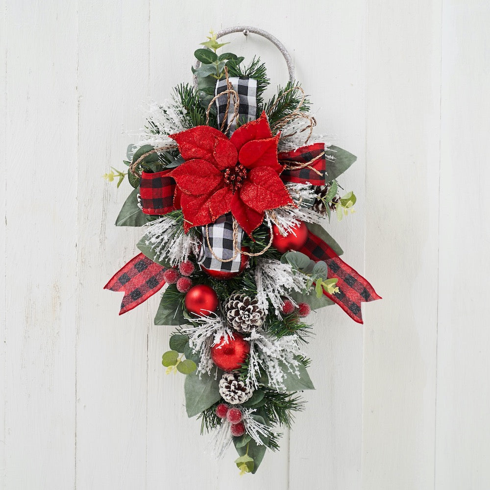 Red Poinsettia Teardrop Swag with Ring with Red and White Buffalo Check Ribbon