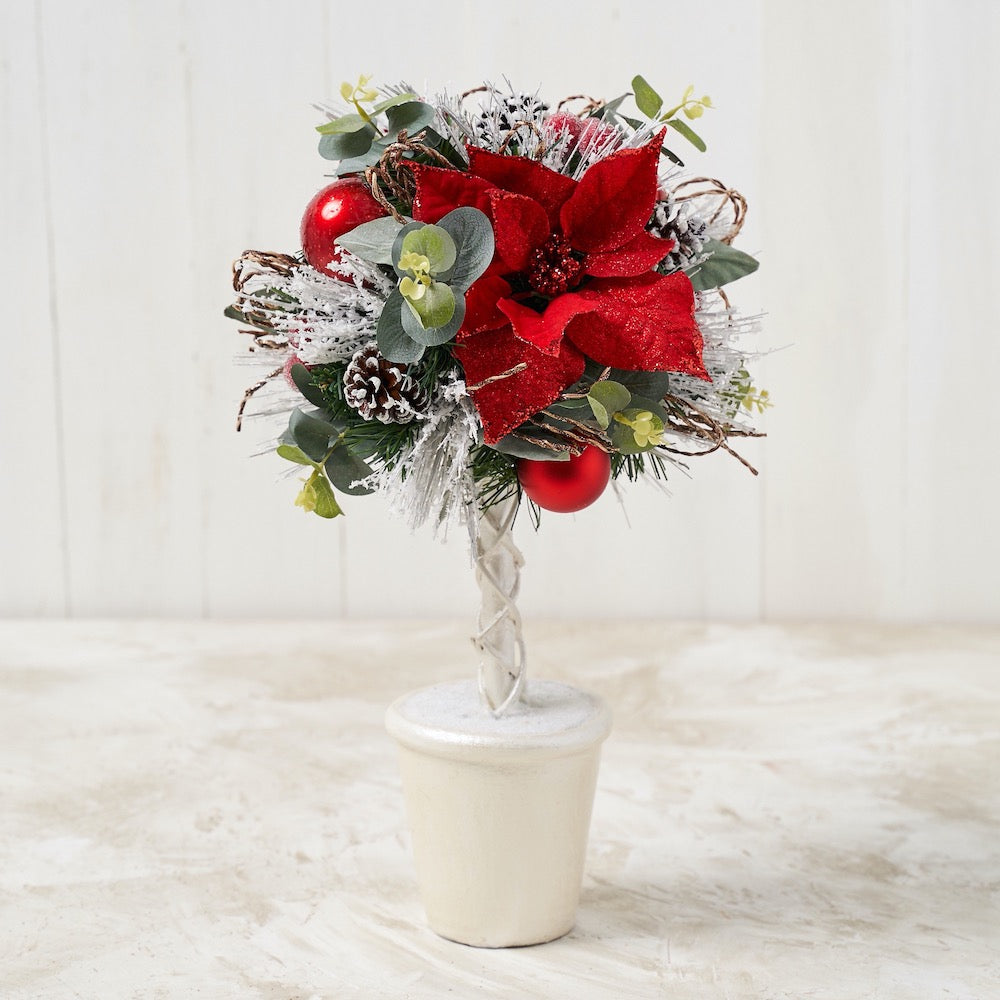 Red Poinsettia Topiary with White Pot