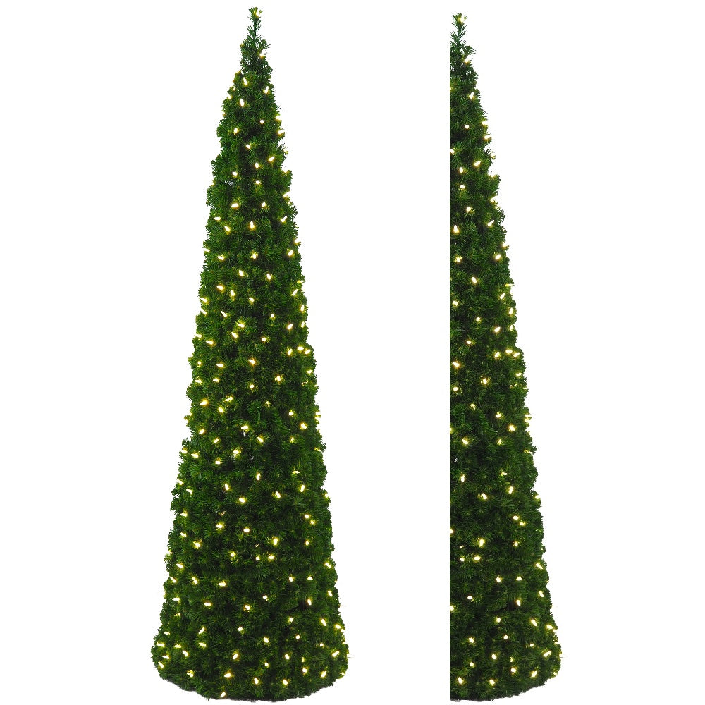Half Cone Tree Clear LED (7')Soft PVC - Pre lit Artificial Christmas Tree - Half & Corner and 7 ft Tall