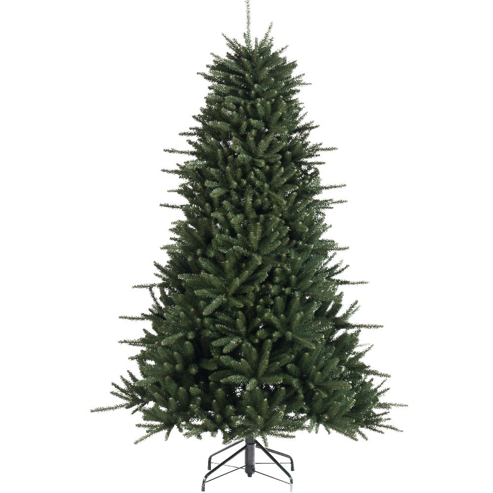 Helsinki Pine, Unlit (7.5') Artificial Christmas Tree With Metal Stand - Soft PVC Plastic For Full Appearance - Classic - 7.5 ft - Hook On Branches