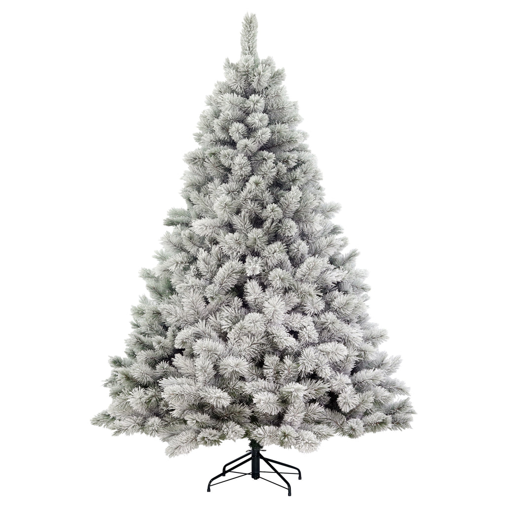 Flocked Highland Fir, Unlit (7.5') Artificial Christmas Tree With Metal Stand - Hard Needle PVC Plastic For Full Appearance - Realistic - 7.5 ft - Hinge Branches