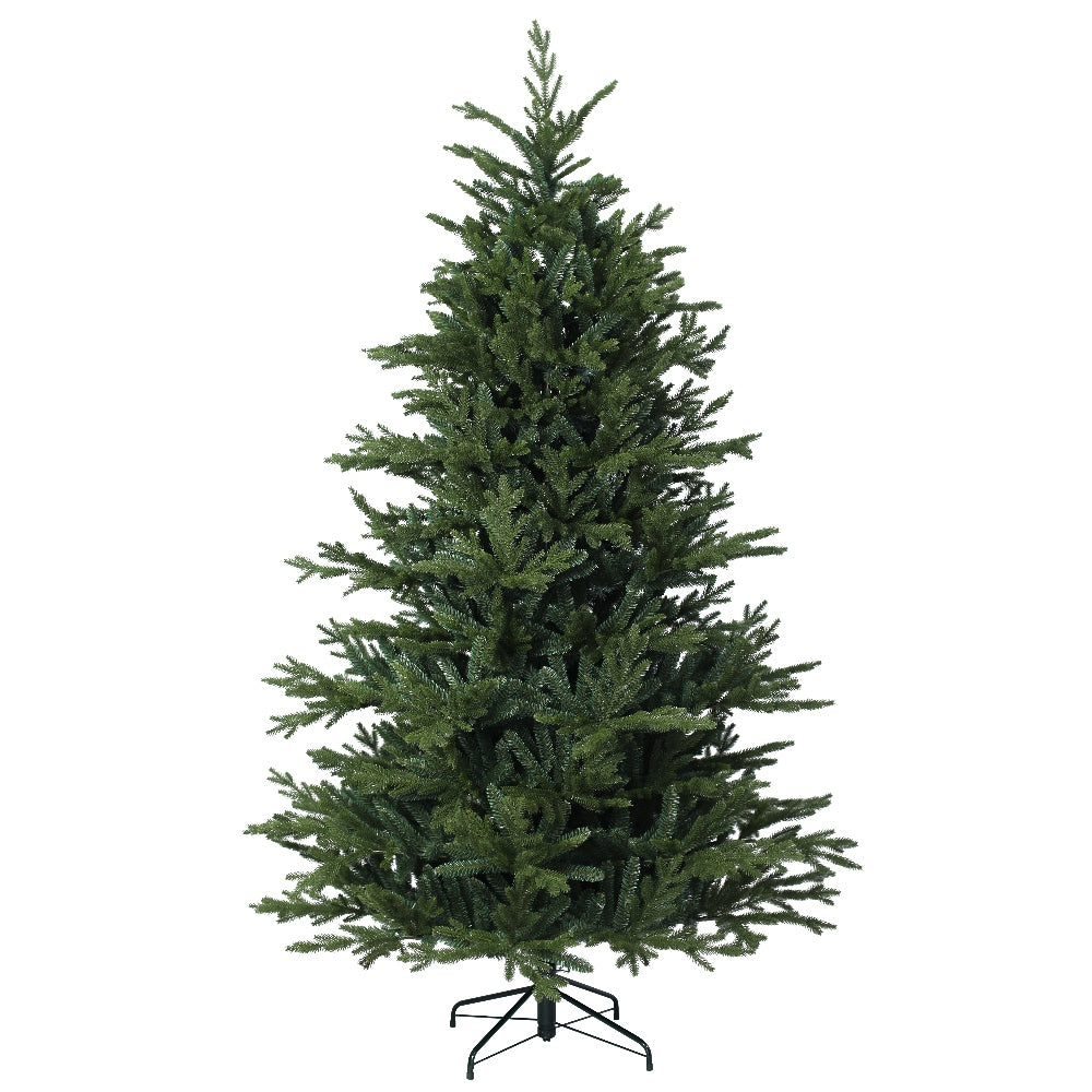 Hillwood Pine, Unlit (7.5') - Artificial Christmas Tree With Metal Stand - PE + PVC Plastic For Full Appearance - Realistic - 7.5 ft - Hook On Branches