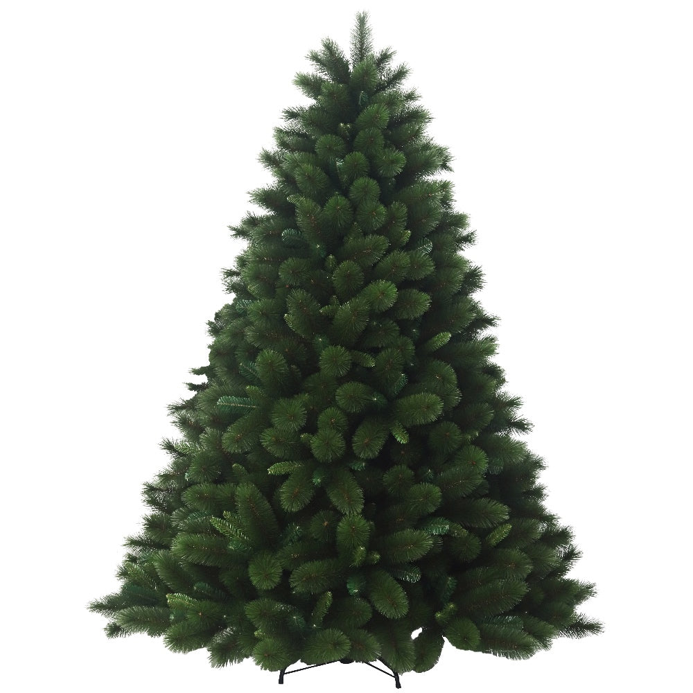 Hudson Pine, Unlit (7.5) Artificial Christmas Tree With Metal Stand - Hard Needle + Soft PVC Plastic For Full Appearance - 7.5 ft - Hook On Branches