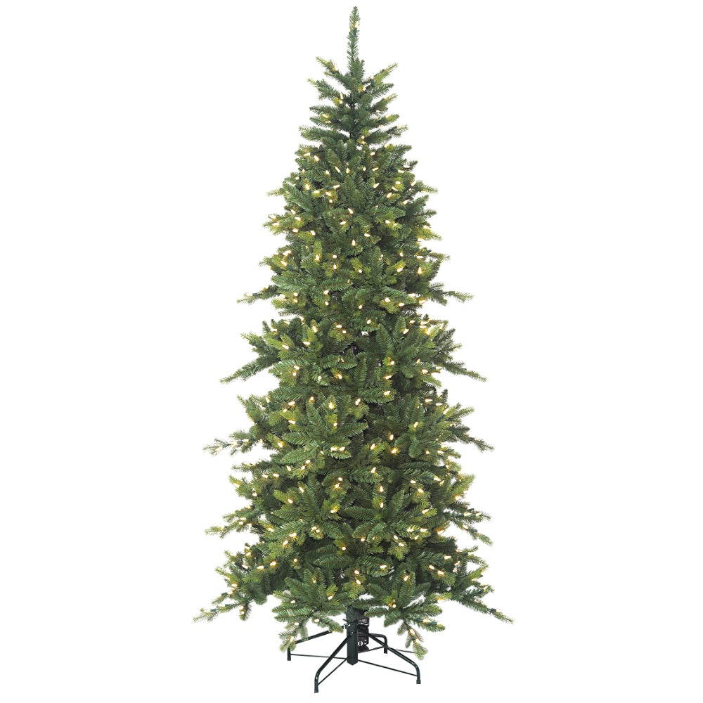 Icelandic Fir LED - Artificial Prelit Christmas Tree with LED Light & Metal Stand - Realistic PE + Soft PVC Plastic For Full Appearance - Pre lit Lights On Every Branch - Hook On Branches