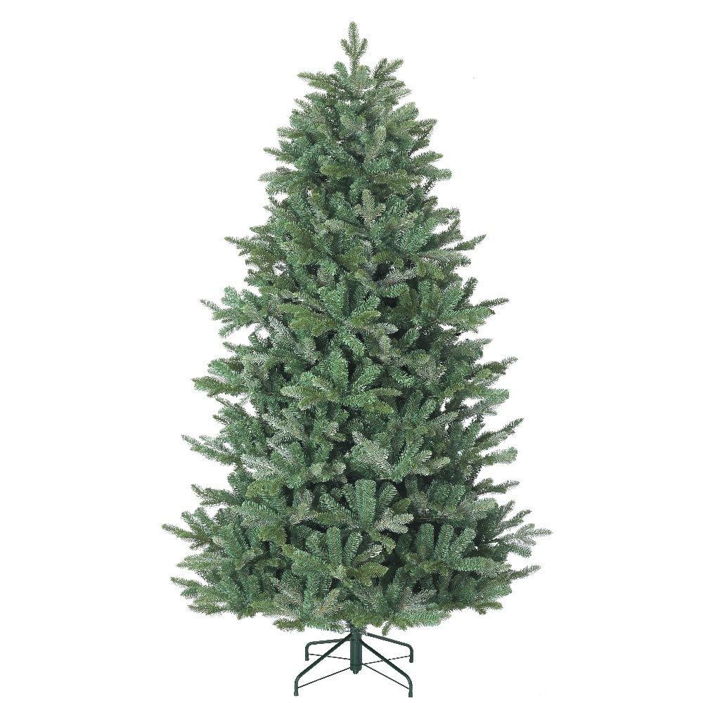 Matterhorn Fir, Unlit (7.5') Artificial Christmas Tree With Metal Stand - PE + PVC Plastic For Narrow Appearance - Realistic - 7.5 ft - Hook On Branches