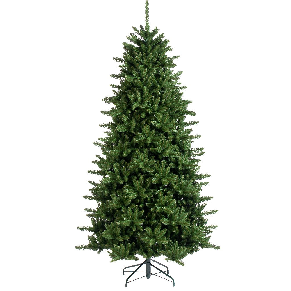 Regency Pine, Unlit (7.5') Artificial Christmas Tree With Metal Stand - Soft PVC Plastic For Narrow Appearance - Classic - 7.5 ft - Hook On Branches