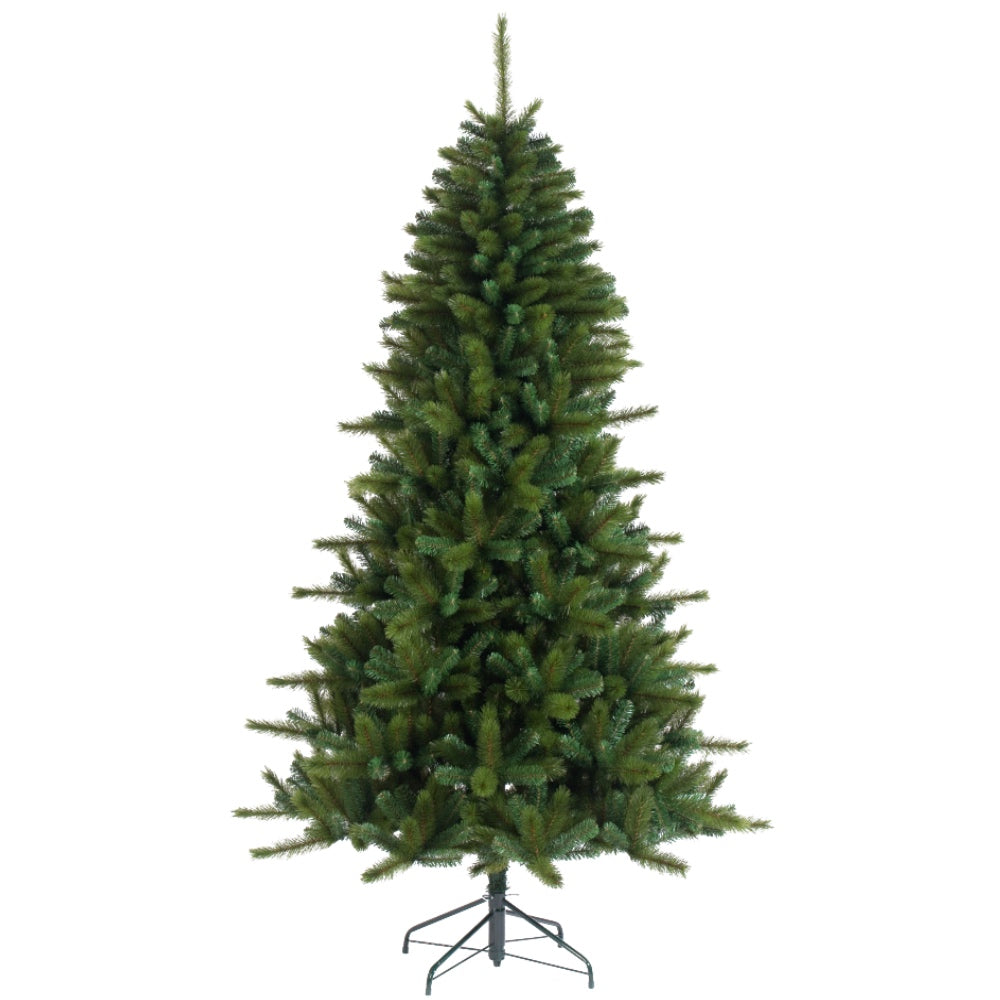 Rockwood Pine, Unlit (7.5' ) Artificial Christmas Tree With Metal Stand - Soft PVC Plastic For Full Appearance - Classic - 7.5 ft - Hook On Branches