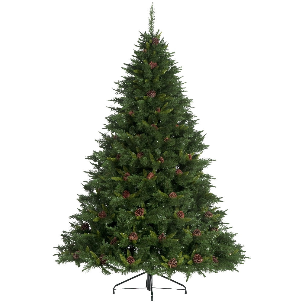Springfield Pine + Cones, Unlit (7.5')Artificial Christmas Tree With Metal Stand -  Soft PVC Plastic For Full Appearance - Classic - 7.5 ft - Hook On Branches