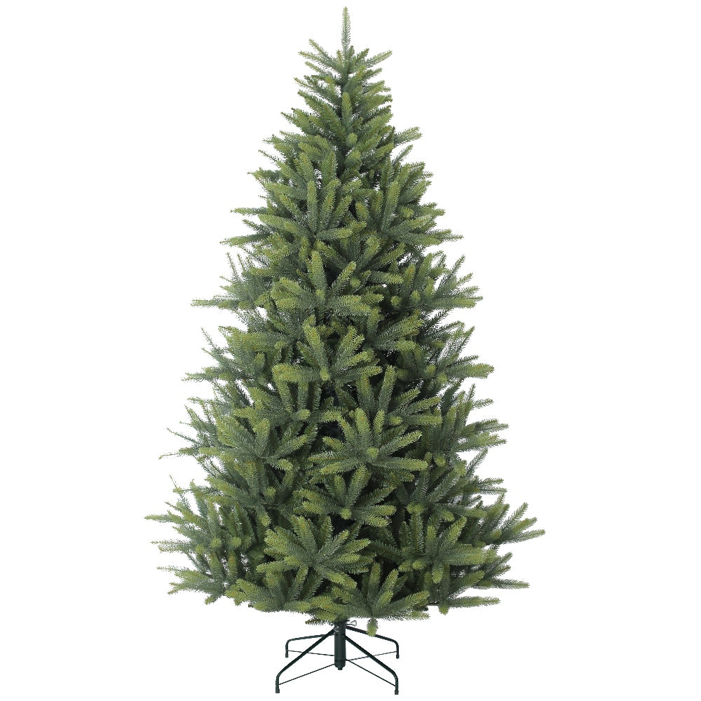 Valley Spruce, Unlit (7.5') -Artificial Christmas Tree With Metal Stand - PE + PVC Plastic For Full Appearance - Realistic - 7.5 ft - Hook On Branches