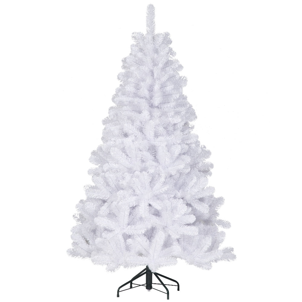 White Douglas Fir, Unlit (7.5') Artificial Christmas Tree With Metal Stand - Soft PVC Plastic For Full Appearance - Classic - 7.5 ft - Hook On Branches