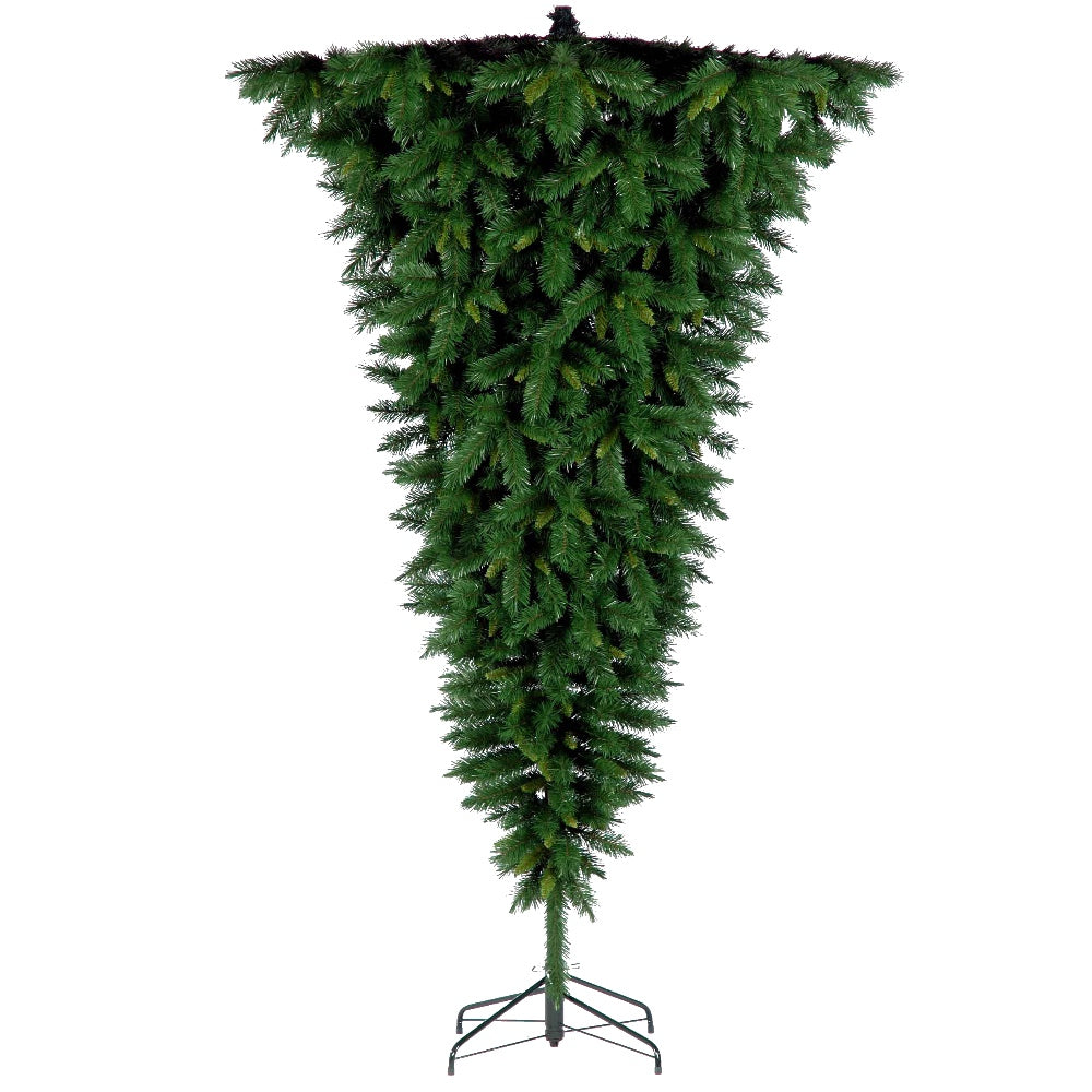 Up Side Down Tree - Wildwood Spruce, Unlit (7.5') Artificial Christmas Tree With Metal Stand - Soft PVC Plastic For Full Appearance - Classic - 7.5 ft - Hook On Branches
