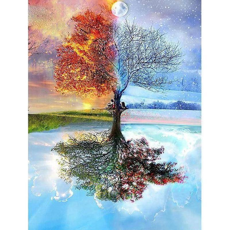 4 Season Tree - DIY 5D Diamond Painting - Full Drill-EasyWhim