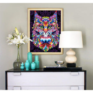 Abstrakte Farben Katze - DIY 5D Diamond Painting (Diamanten Malerei)