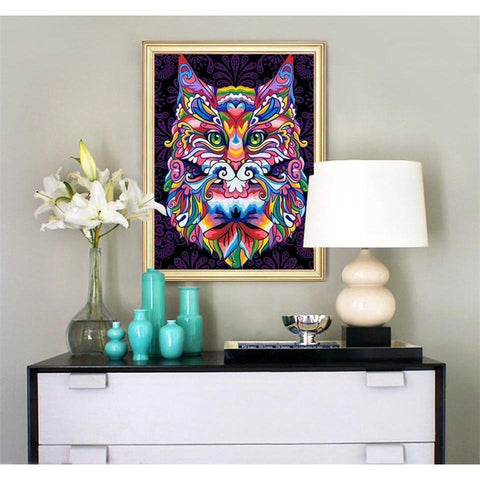Abstract Color Cat - DIY 5D Diamond Painting - Full Drill-EasyWhim