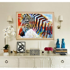Abstrakte Farben Zebra - DIY 5D Diamond Painting (Diamanten Malerei)