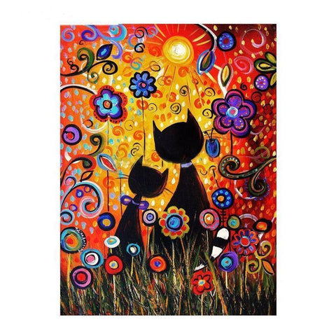 Abstract Flower Kitties - DIY 5D Diamond Painting - Full Drill-EasyWhim