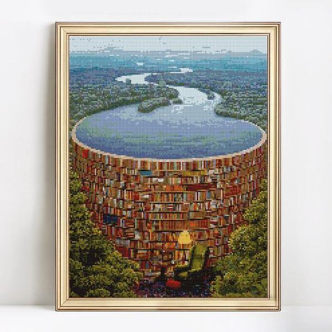 Books Dam - DIY 5D Diamond Painting - Full Drill-EasyWhim