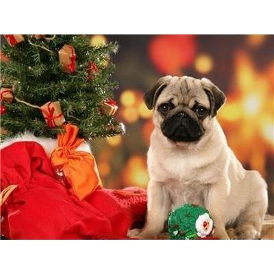 Image of Christmas Pug - DIY 5D Diamond Painting - Full Drill-EasyWhim