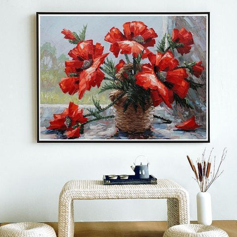 Image of Exquisite Red Flowers - DIY 5D Diamond Painting - Full Drill-EasyWhim