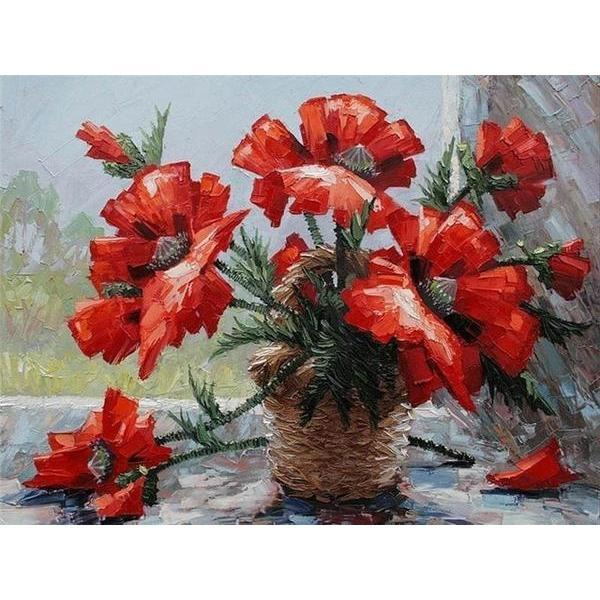 Exquisite Red Flowers - DIY 5D Diamond Painting - Full Drill-EasyWhim