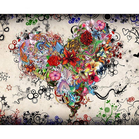 Image of Flower Heart - DIY 5D Diamond Painting - Full Drill-EasyWhim