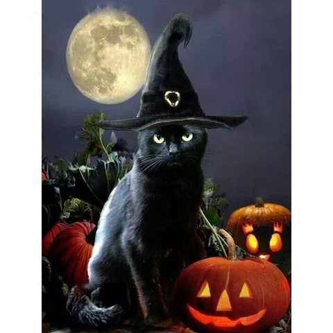 Image of Halloween Cat - DIY 5D Diamond Painting - Full Drill-EasyWhim