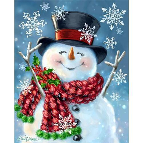 Happy Snowman - DIY 5D Diamond Painting - Full Drill-EasyWhim