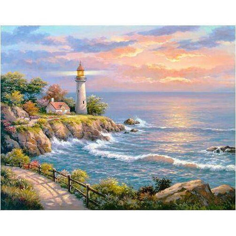 Image of Lighthouse Sunset - DIY 5D Diamond Painting - Full Drill-EasyWhim