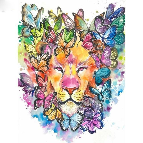 Lion With Butterflies - DIY 5D Diamond Painting - Full Drill-EasyWhim