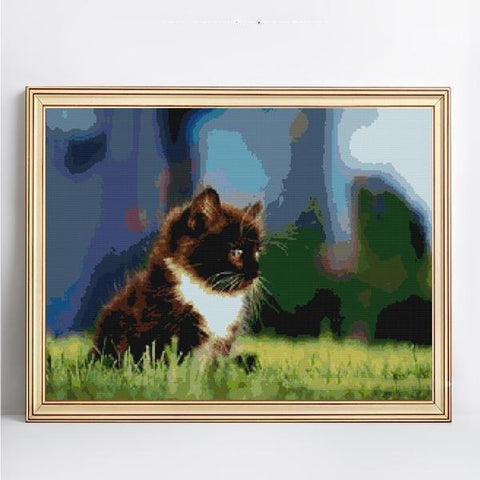 Image of Lone Kitty - DIY 5D Diamond Painting - Full Drill-EasyWhim
