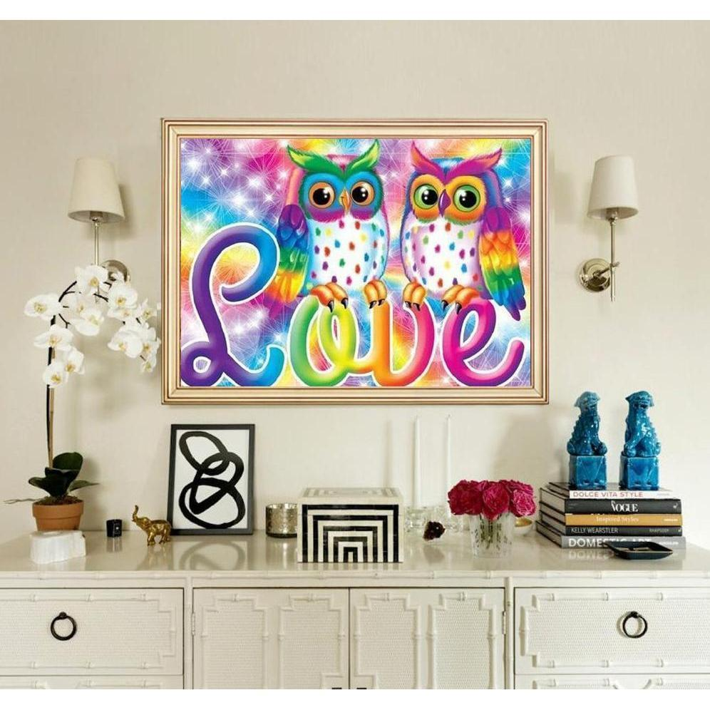 Love Owls - DIY 5D Diamond Painting - Full Drill-EasyWhim