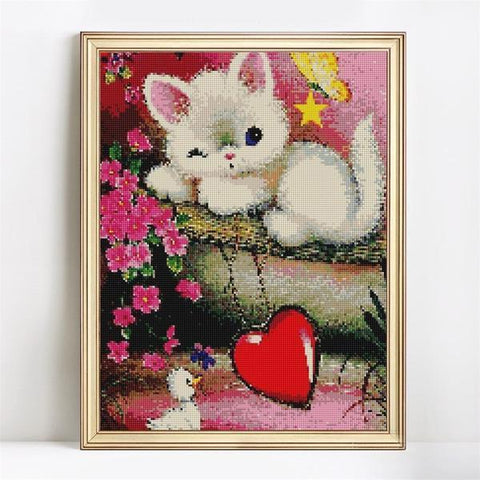 Image of Lovely Kitty - DIY 5D Diamond Painting - Full Drill-EasyWhim