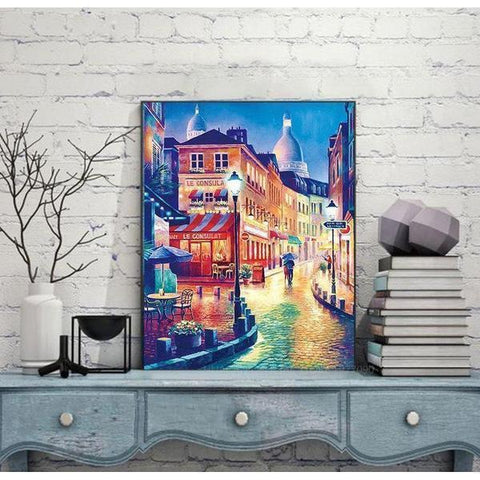 Image of Night City Street - DIY 5D Diamond Painting - Full Drill-EasyWhim