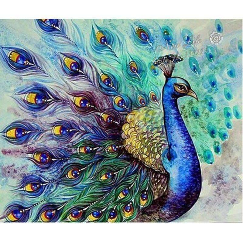 Open Tail Peacock - DIY 5D Diamond Painting - Full Drill-EasyWhim
