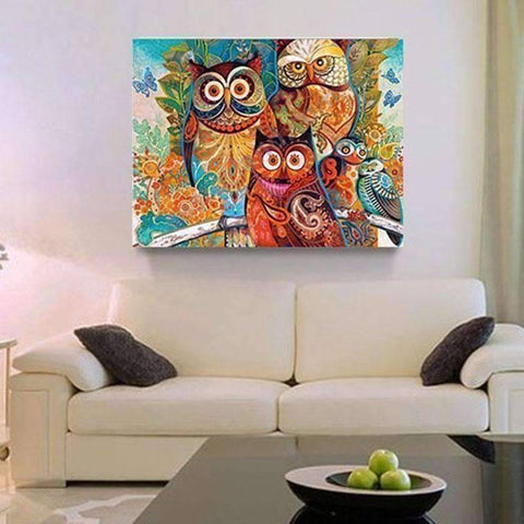 Owls - DIY 5D Diamond Painting - Full Drill-EasyWhim