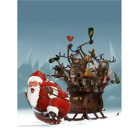 Image of Santa Clause Carrying His Sleigh - DIY 5D Diamond Painting - Full Drill-EasyWhim