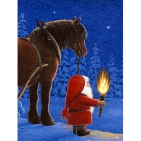 Image of Santa Clause With A Horse - DIY 5D Diamond Painting - Full Drill-EasyWhim
