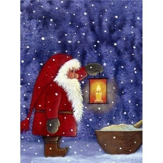 Santa Clause With His Lantern - DIY 5D Diamond Painting - Full Drill-EasyWhim