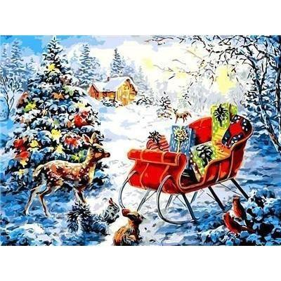 Image of Santa's Giftcart - DIY 5D Diamond Painting - Full Drill-EasyWhim