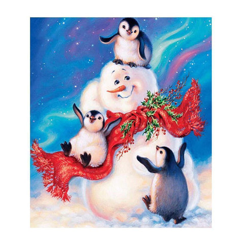Image of Snowman with Penguins - DIY 5D Diamond Painting - Full Drill-EasyWhim