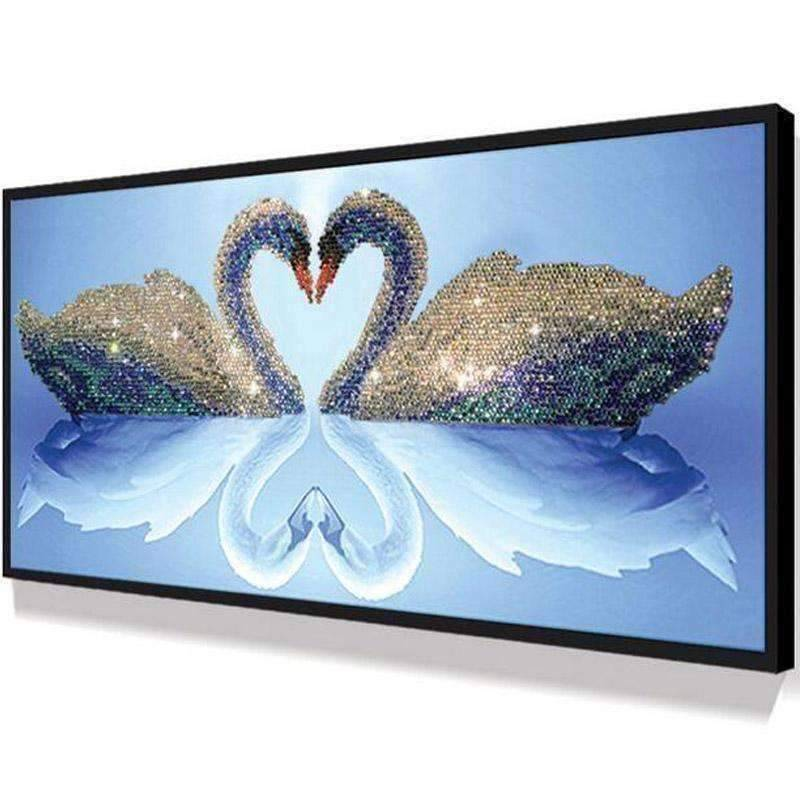 Swans in love - DIY 5D Diamond Painting - Full Drill-EasyWhim
