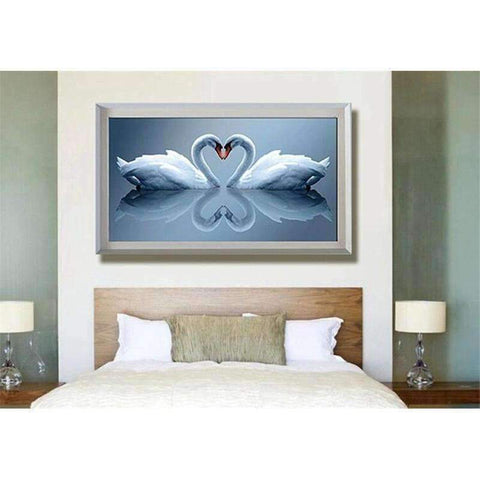 Image of Swans in love - DIY 5D Diamond Painting - Full Drill-EasyWhim